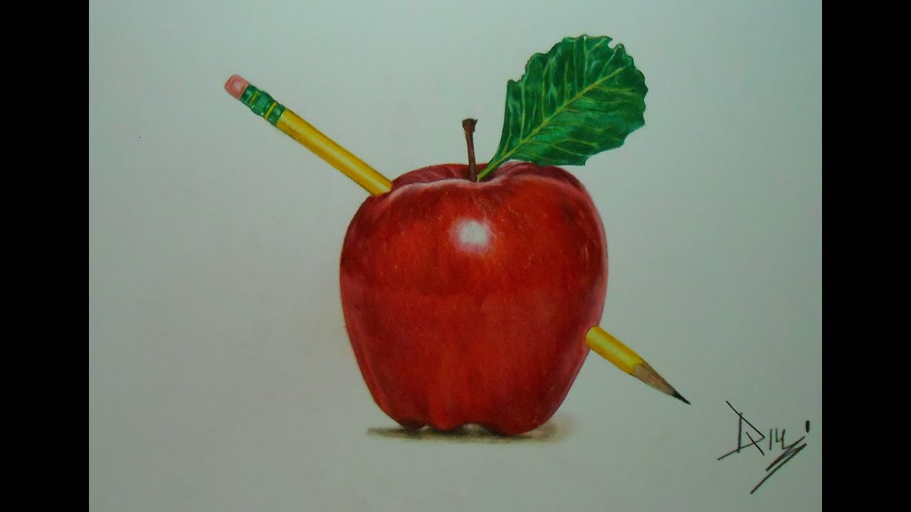 Drawing an apple drawing with prismacolor colored pencils