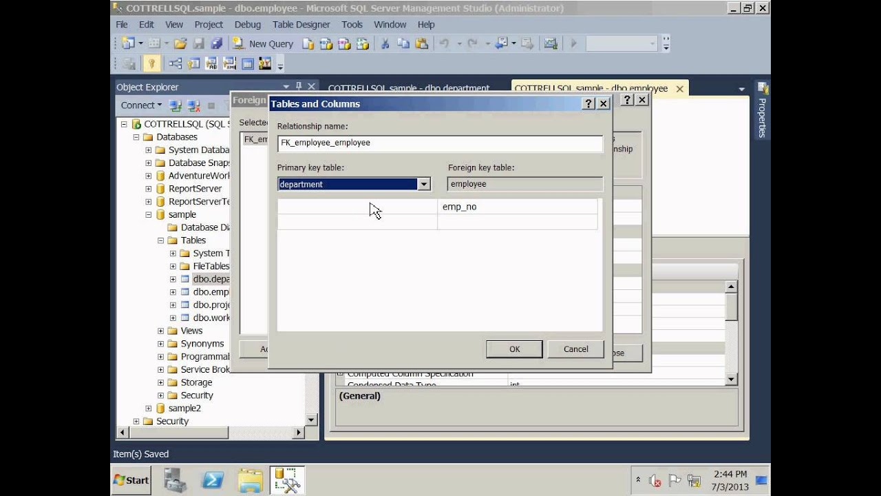 Sql server 2012 create relationships and er diagram youtube ccuart Image collections