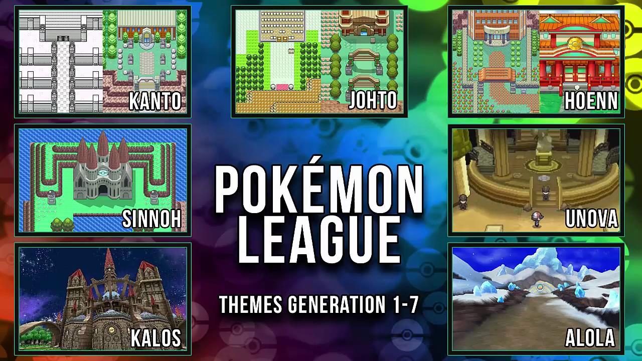 all pokémon league themes gen 1 7 youtube