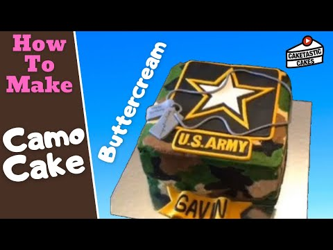 BUTTERCREAM ICING CAMO Cake Decorating Tutorial - How To Make CAMOUFLAGE Cake Decorations Caketastic