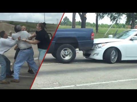 Road rage: Houston drivers crash truck into car; Biker goes ballistic on soccer mom - Compilation