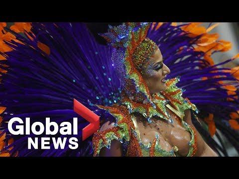 Rio de Janeiro's elite samba schools parade through the Sambadrome
