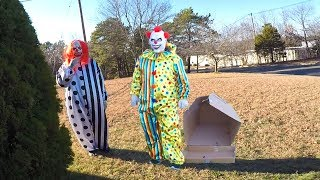 Clown in a Box - Two Clowns Attack and Chase Family!