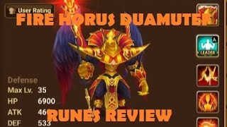 summoners war fire horus duamutef review fire horus runes skills review