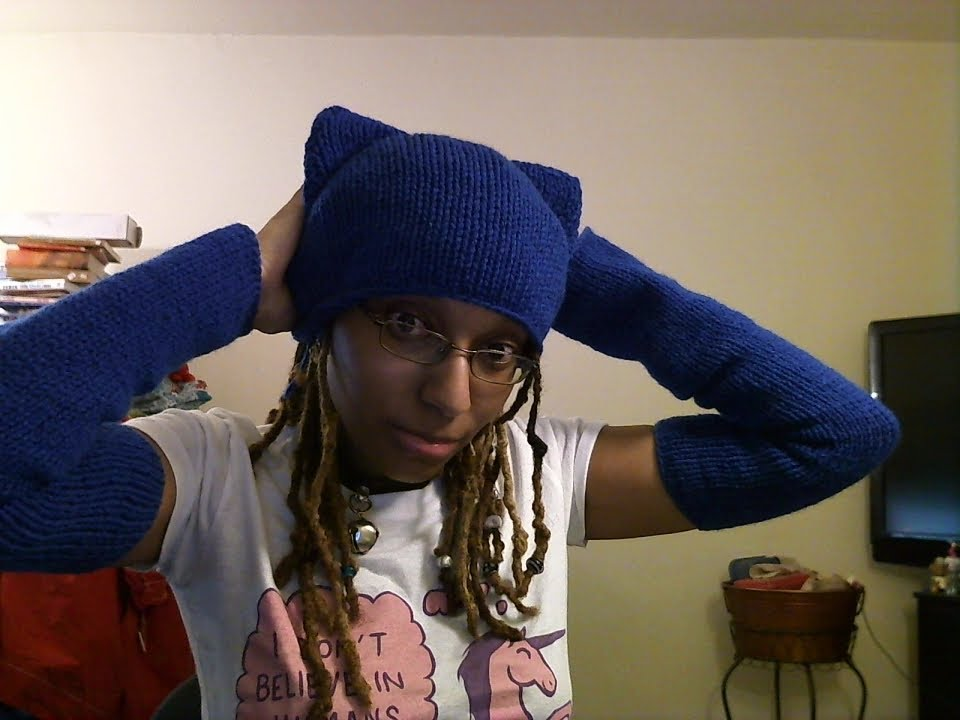 Vlog Knit cat ear hat in one piece - YouTube