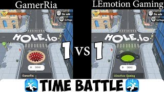 Hole.io - Gameplay - 2 Minute Time Battle vs. @GamerRia - Who Eats 100% Of The Map Faster?