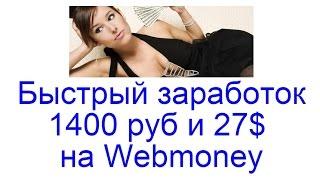 Быстрый заработок денег на вебмани|Быстрый заработок в интернете. 1400 руб и 27$ на Webmoney