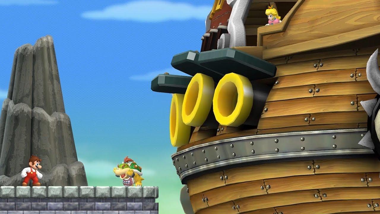 New Super Mario Bros  Wii - All Airships (Bowser Jr  Boss Battles)