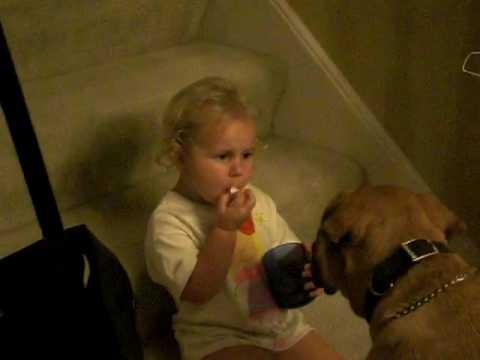 Haley feeding Shasta popcorn