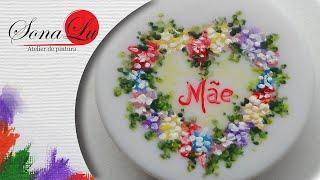 Pintura em sabonete Flores com coração