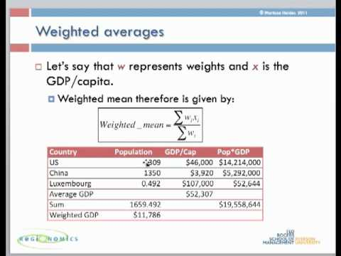 Weighted means & Standard Deviations - Part 1
