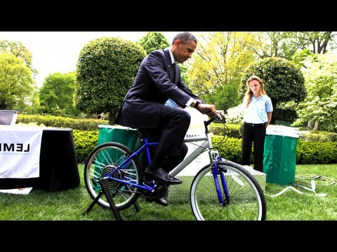Obama Rides Bike For Science