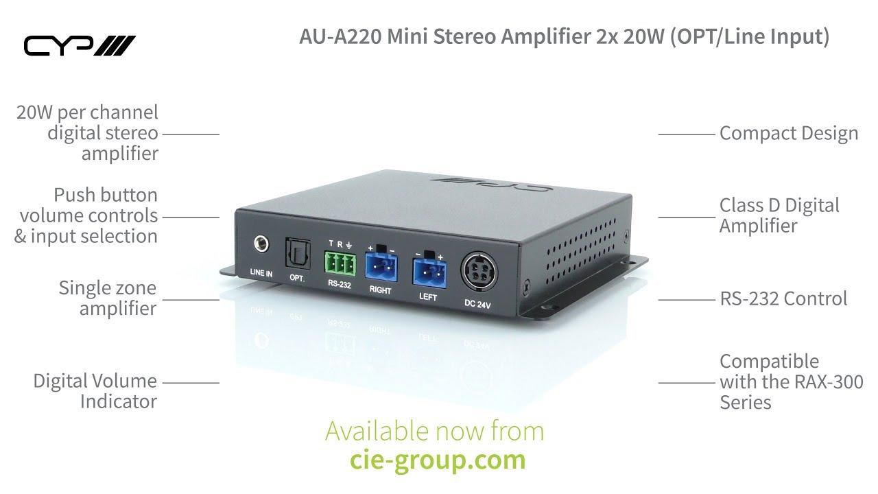 CIE AV Solutions CYP Mini Stereo Amplifier 2 x 20W (OPT/Line