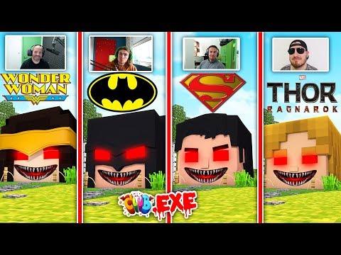 Minecraft LITTLECLUB.EXE SUPERHEROES HOUSE CHALLENGE - BATMAN VS SUPERMAN VS WONDERWOMAN VS THOR.EXE