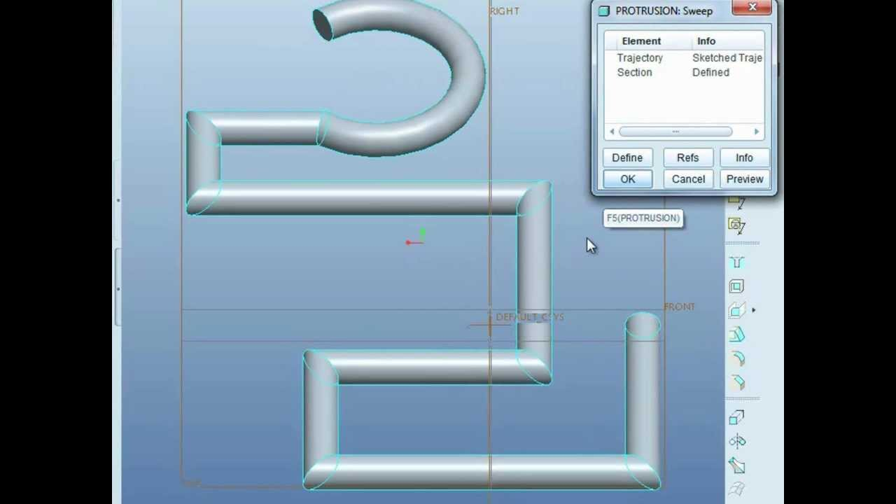 Pro/ENGINEER (Pro/E) tutorial - learn SWEEP to draw pipe in 2 mins ...