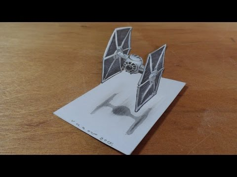 Drawing 3D TIE Fighter from the Star Wars Film - 3D Trick Art on Paper