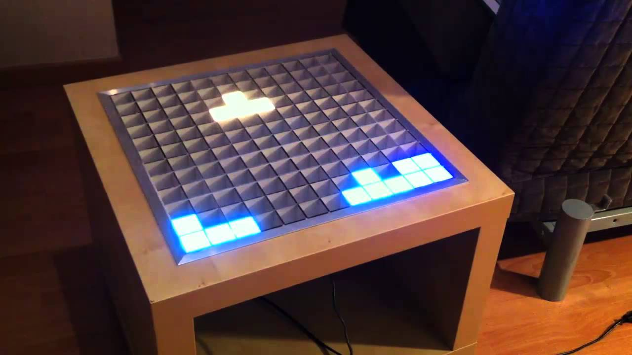 interactive rgb led table from ikea lack side table youtube. Black Bedroom Furniture Sets. Home Design Ideas