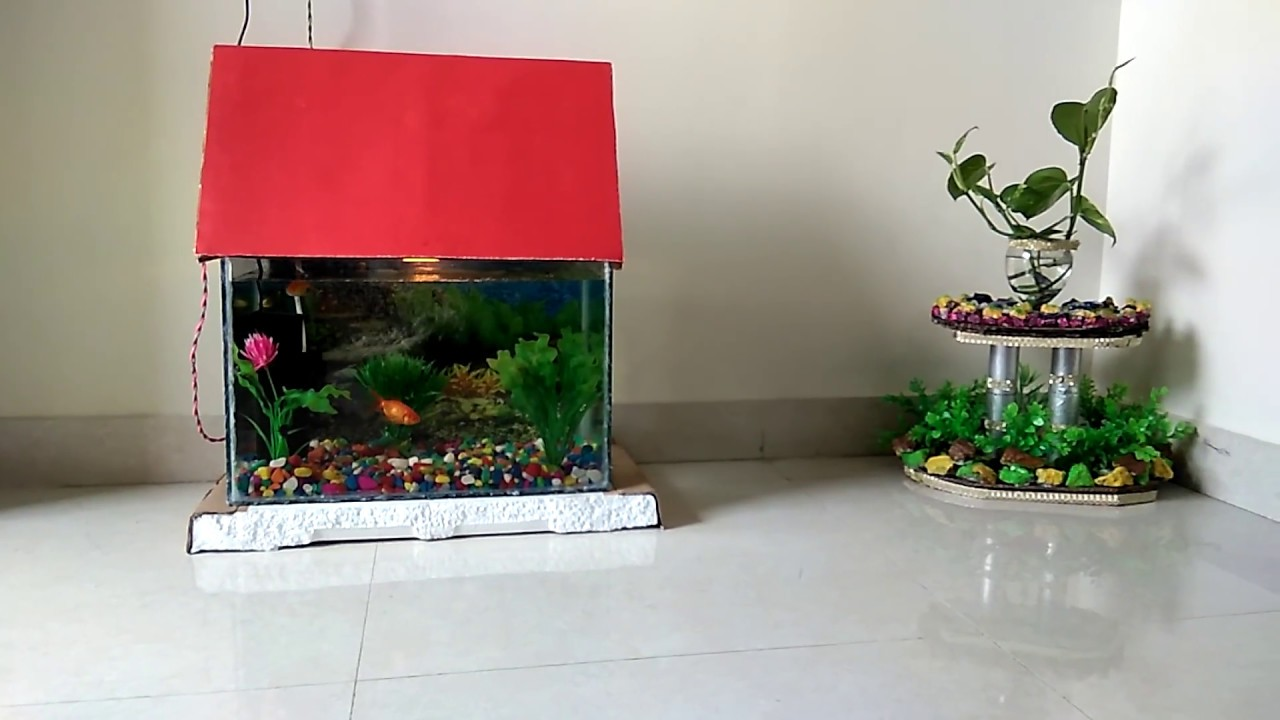 Aquarium Decoration Idea With Colorful Stones Artificial Plants And Scenery