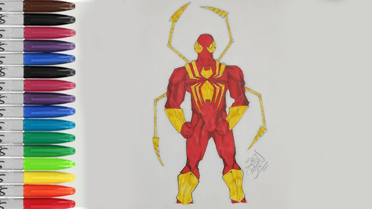 Iron spiderman coloring pages the iron spider of ultimate spider sailany coloring kids