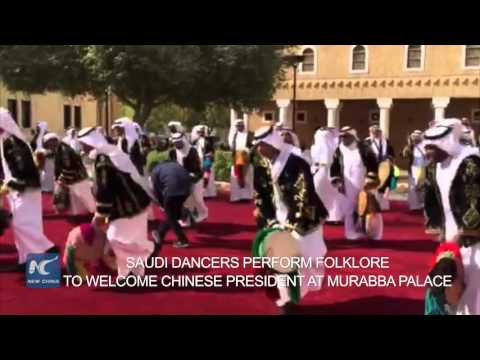 Saudi dancers perform folklore to welcome Chinese president at Murabba Palace