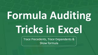 Formula Auditing Tricks in Excel | Excel Formulas
