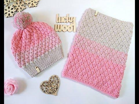 Комплект шапка шарф спицами детский