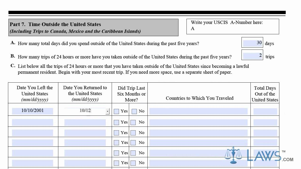 Learn How to Fill the N-400 Form Application For Naturalization ...