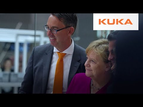 German Chancellor Merkel Visits KUKA | Hannover Fair 2018