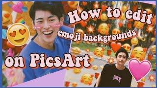 HOW TO EDIT EMOJI BACKGROUNDS ON PICSART (Philippines) | Thea Racadz