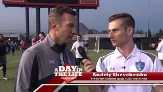 Adriano Del Monte interviewing Paolo Mandini and Andriy Shevchenko