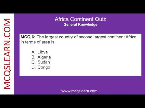 Africa Continent Quiz - MCQsLearn Free Videos
