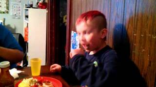 Gabe Eating Habanero Bbq Sauce
