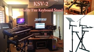 KSV 2 Jasper-Best Two Tier Keyboard Stand with Laptop, Music & Monitor Holder