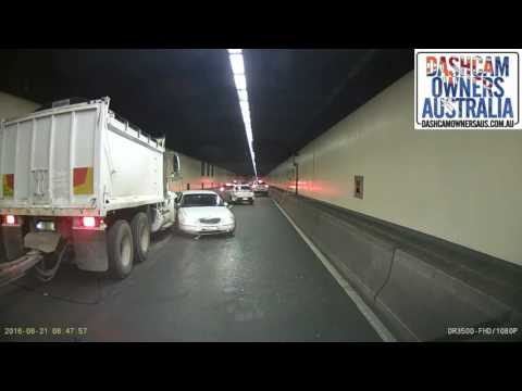 Sydney Harbour Tunnel Truck and Car crash.