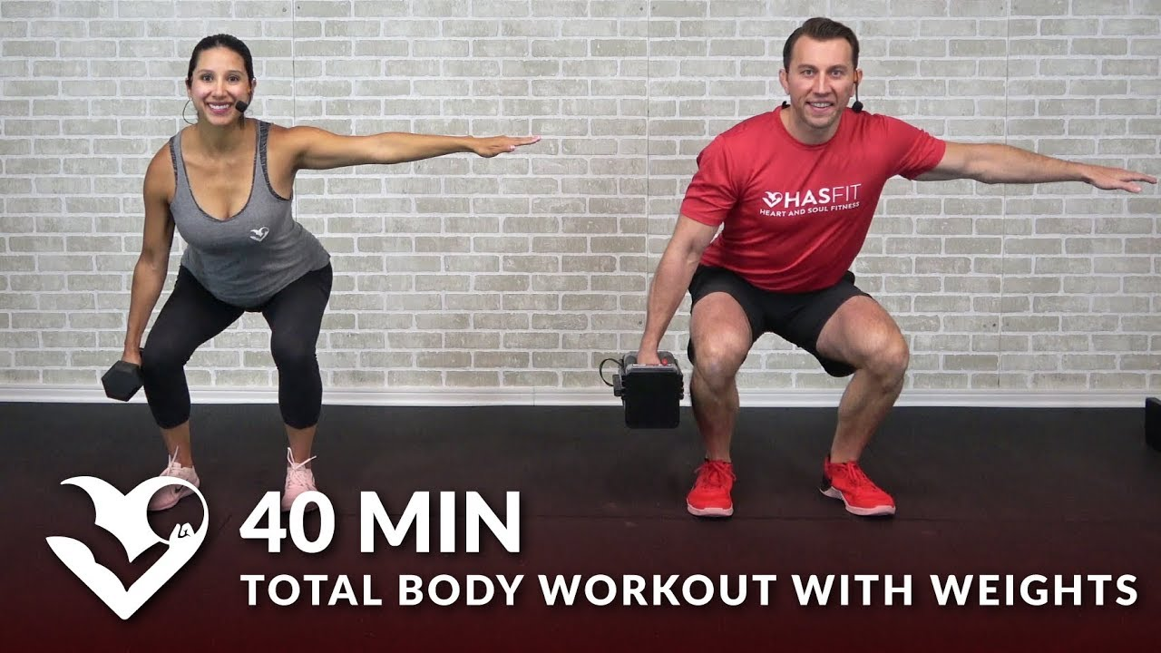 40 Min Total Body Workout with Weights - Full Body Strength Workout at Home Dumbbell Training