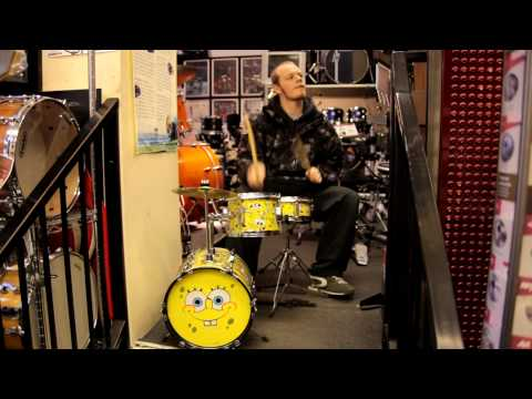 Ben Alldred rocking the Spongebob Squarepants drum kit at Newcastle Drum Centre