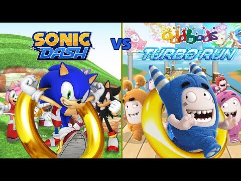 Sonic Dash Vs Oddbods Turbo Run: Attack Of The Clones [60fps]