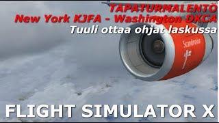 Tapaturmalento New York KJFA - Washington KDCA | Kovassa tuulessa controllit katoaa FSX Suomi