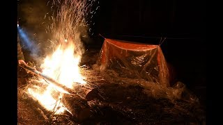 Winter Camping Overnight in a Portable Super Shelter, Long Fire, Bough Bed, Bushcraft, Friends