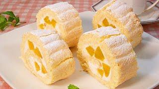 食べきりサイズの【ビスキュイロールケーキ】How to make biscuit roule cake