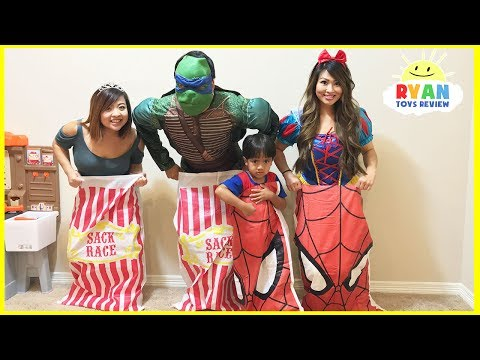 Thumbnail: Carnival Games for kids for Surprise Eggs! Whoopee Cushion Challenge Parent vs Kid Family Fun