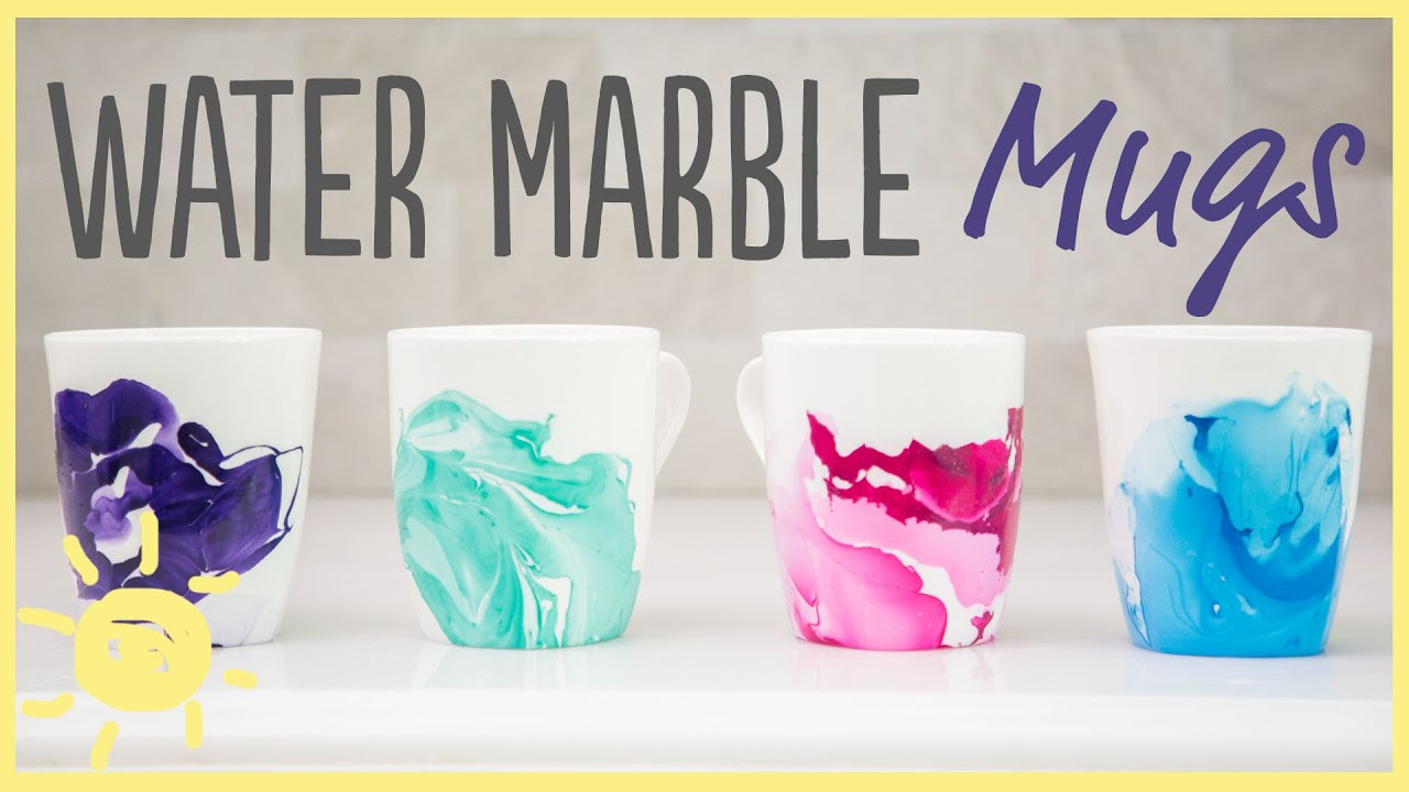 DIY | Water Marble Mugs with Only 2 Ingredients!! (Easy Gift idea ...