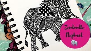 Zendoodle - Zentangle Inspired Elephant ( Timelapse )   Inktober Series   Karthika Loves DIY
