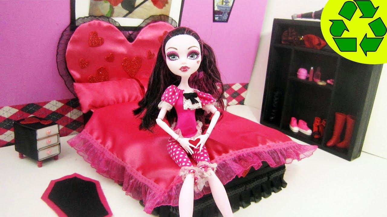 Elegant Monster High Tutorial Draculaura Doll Bed Recycling Doll Crafts simplekidscrafts