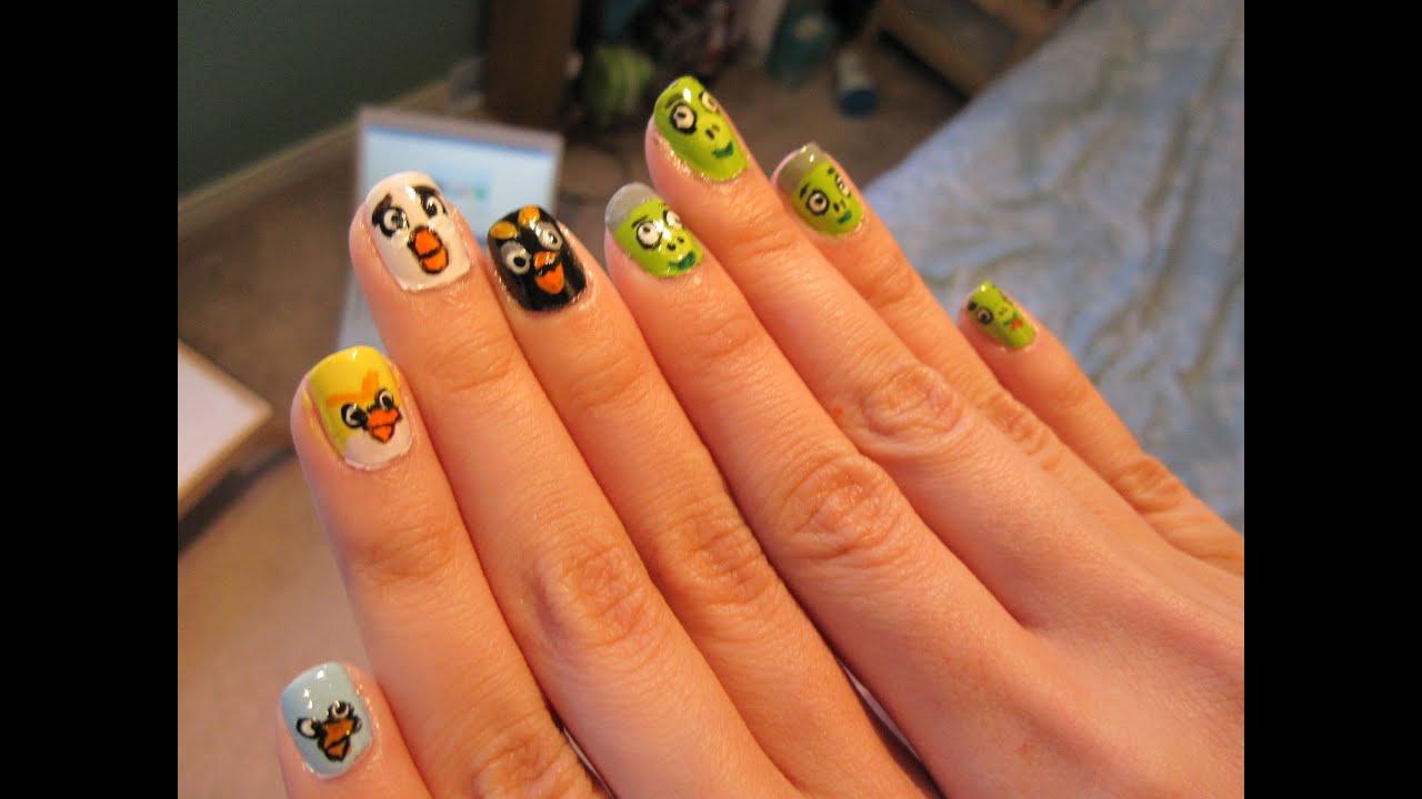 Angry Birds Nail Art - YouTube