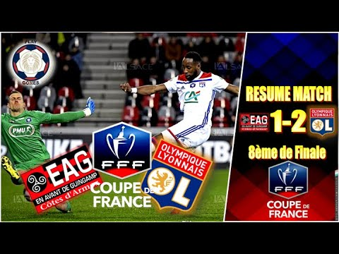 Guingamp lyon 1 2 r sum francais highlights all - 8eme de final coupe de france ...