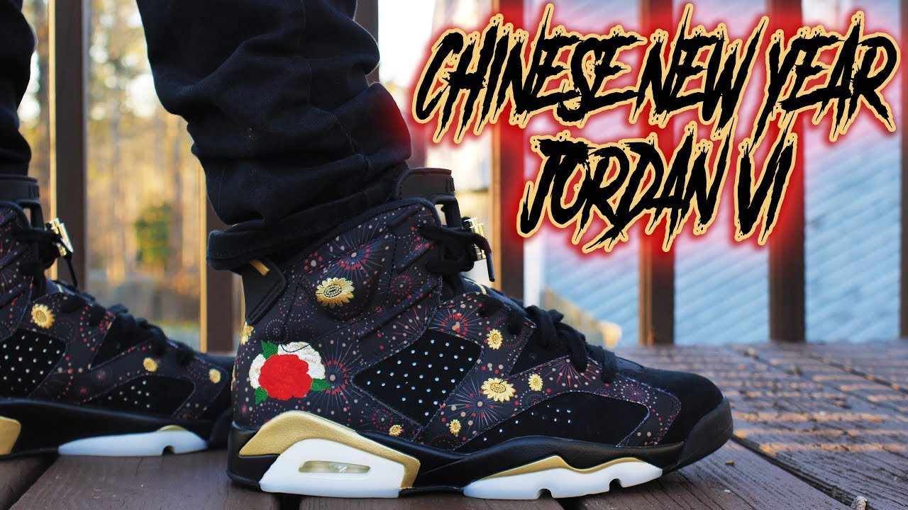 air jordan 6 chinese new year on feet
