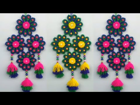 beautiful---wall-hanging-craft-making-with-woolen-\-latest-design-wall-hanging-toran-making-ideas||