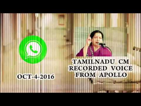 CM Jayalalitha Voice audio from Apollo hospital - Exclusive viral whatsapp Audio