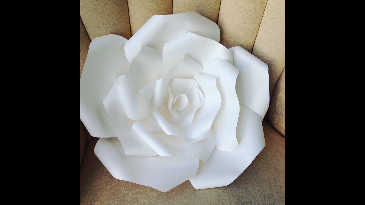 Diy large paper flower template ukrandiffusion diy large paper rose youtube mightylinksfo